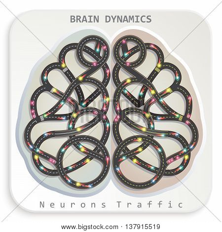 Vector illustration of a human brain in the form of a highway with a moving truck similar to the dynamic movement of neurons. Creative image infographic elements of human activity.