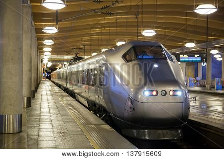 commuter train at metro station platform in Oslo Norway