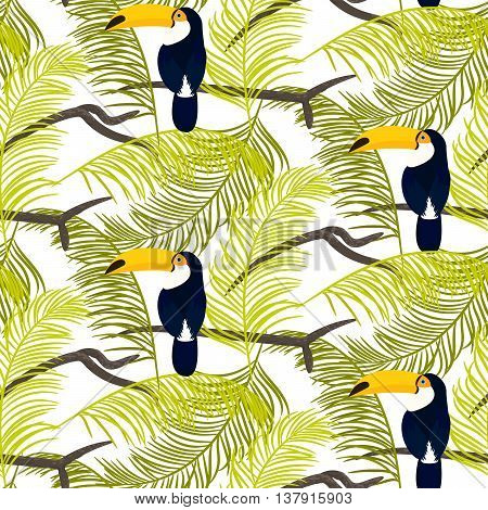 Green palm leaves and toucan bird sitting on branch seamless vector pattern on white background. Tropical jungle leaf.