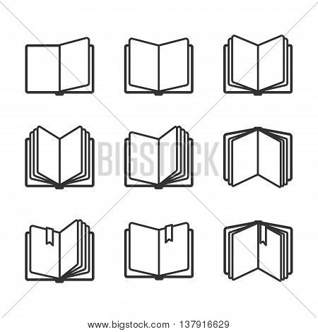 Education icons set, open books in black over white. Vector illustration