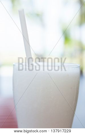 A Glass Cocktail Of Coconut Ice Smoothie.