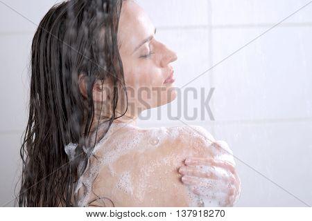 Woman Washing Her Body Shower Gel