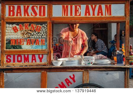 UBUD INDONESIA - MARCH 08: Woman cooks meatball soup at the street stall in Ubud Bali Indonesia on March 08 2016