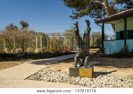 SDE BOKER ISRAEL - MARCH 18: Sculptor: Rafael Maimon sculpture of David Ben-Gurion standing on his head in kibbutz Sde Boker Israel on March 18 2016