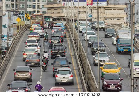 Bangkok, Thailand - June 31, 2016: Traffic Reaches Gridlock On A Busy City Centre Road. Each Year An