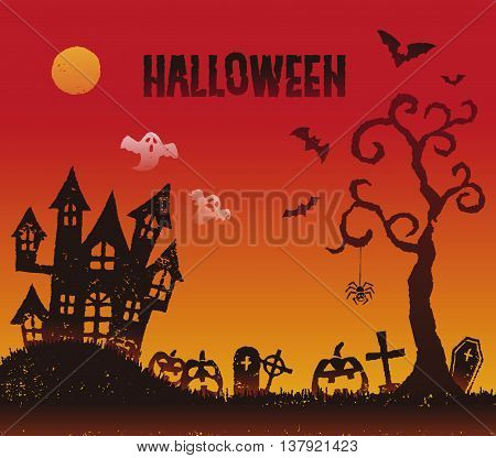 Halloween illustration with a haunted house at the grave yard