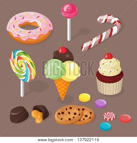 Isometric vector 3d illustration of sweets. Set of confection.