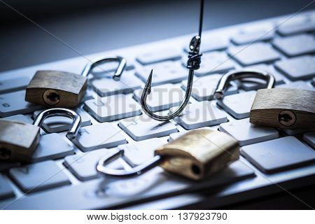 security locks with hook on keyboard / Phishing attack computer system poster