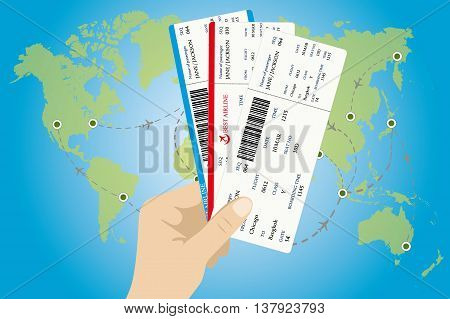 Several boarding passes tickets with QR2 code in hand and map of world on background. flat design vector illustration
