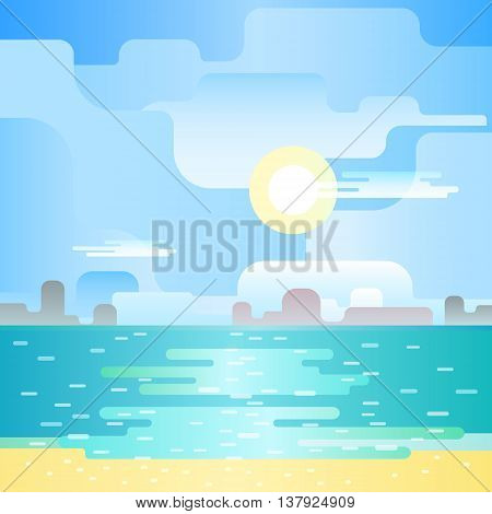 Beautiful beach noon seascape. Blue landscape. Beautiful flat landscape. Flat design vector illustration.