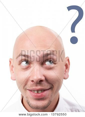poster of Portrait of bald male head having idea
