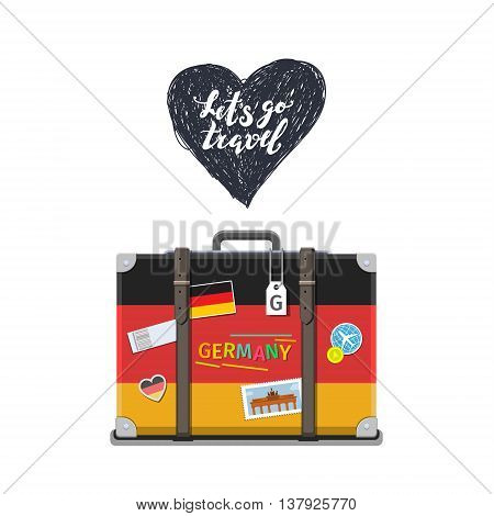 Concept of travel to Germany or studying German. German flag on suitcase. Flat design, vector illustration
