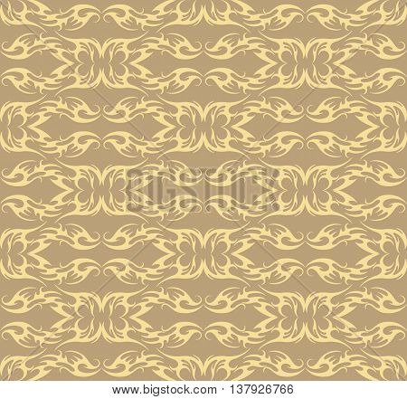 Vector Vintage Damask floral classic pattern ornament. Vector background for cards web fabric textures tile mosaic. Lint and cream color