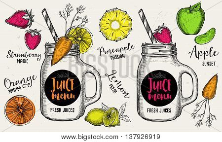 Juice menu placemat drink restaurant brochure dessert template design. Vintage creative beverage template with hand-drawn graphic. Vector food menu flyer.