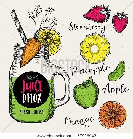 Juice menu placemat drink restaurant brochure dessert template design. Vintage creative beverage template with hand-drawn graphic. Vector food menu flyer.