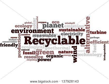 Recyclable, Word Cloud Concept 3