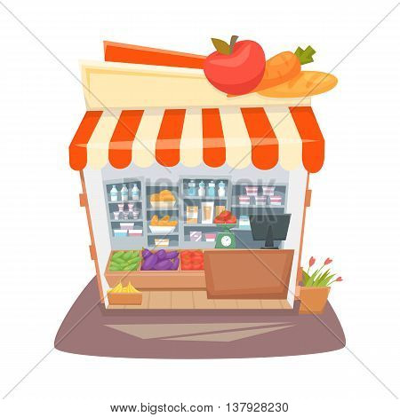 Grocery store interior. Street local retail shop building. Organic food, fruit and vegetable kiosk inside shelves and showcases. Grocery store interior cartoon vector illustration.