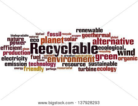 Recyclable, Word Cloud Concept 9