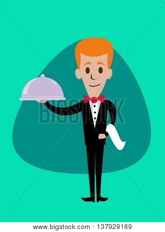A welcoming stylized waiter character holding a serving platter or silver cloche