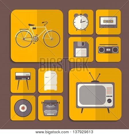 Retro flat icons in orange color. Vector illustration.