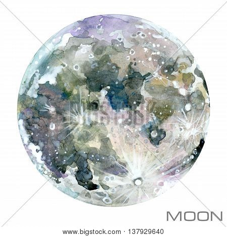Moon. Moon watercolor background. Planet Moon illustration.