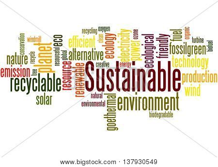 Sustainable, Word Cloud Concept 8