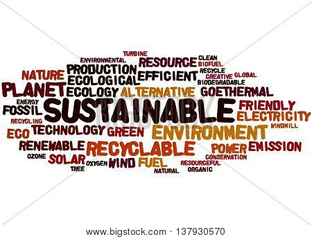 Sustainable, Word Cloud Concept 9