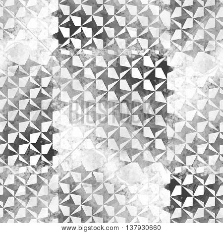Seamless pattern with houndstooth design. Dogtooth background swatch. Textile monochrome print with watercolor effect.