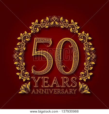 Golden emblem of fiftieth years anniversary. Celebration patterned logotype with shadow on red.