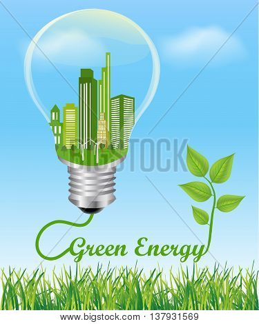 Green Energy Concept. City in electric light bulb connected to a plant symbol of green energy Environmental friendly energy.Energy saving concept Think green concept
