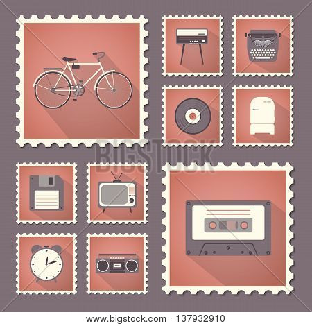 Retro style set flat stamps with shadow. Vector illustration.