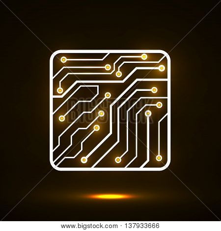 Neon Cpu. Microprocessor. Microchip. Circuit board. Isolated technology background