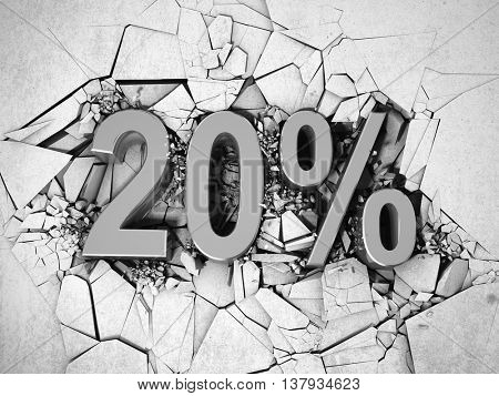 Drop price by 20 percent. 3D illustration.