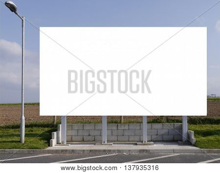 White blank sign for inserting your own advertising images