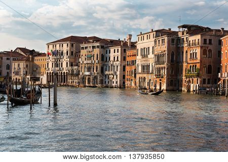 Grand Canal In Venice With Gondole And Facades, Italy