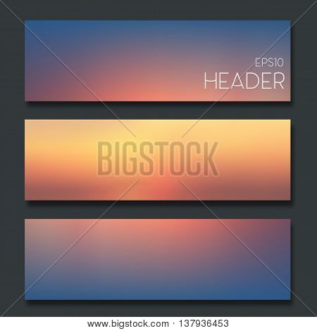Set of blurred headers. Web design or app design elements.