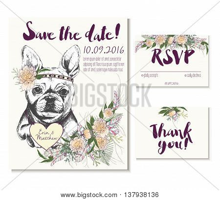 Vedding card set in trendy boho style. French bulldog wearing flower crown and heart coulomb. Decorated with floral bouquet and feathers. Includes save the date. rsvp and thank you cards templates.