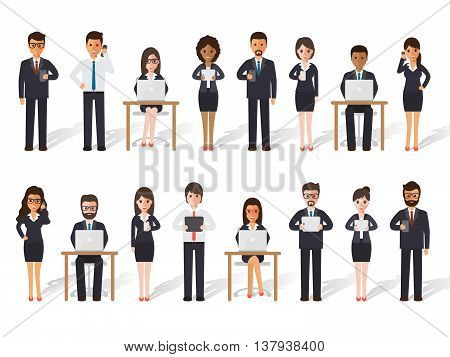 Group of diverse working people on white background. Businessman and businesswoman people using laptop tablet and smartphone in flat design people characters.