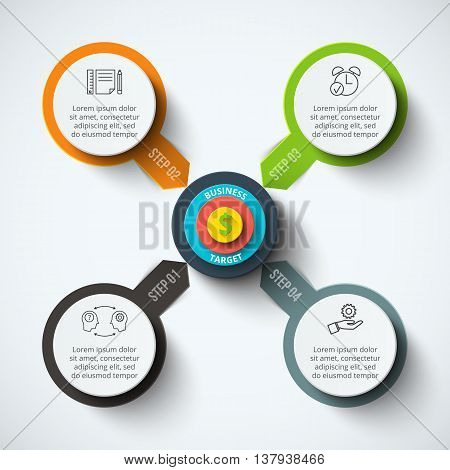 Vector circle infographic with target. Template for cycle diagram, graph, presentation and round chart. Business concept with 4 options, parts, steps or processes. Data visualization.