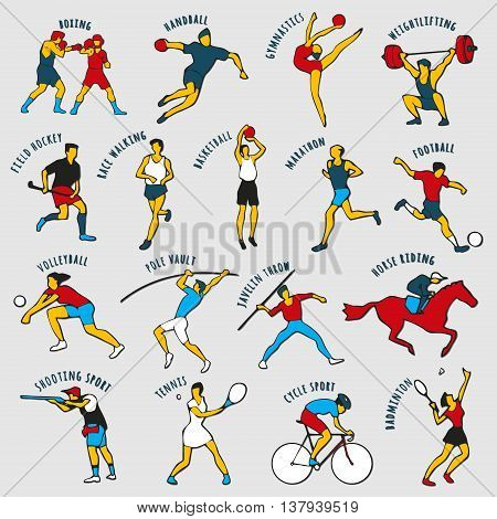 Athletes isolated on the grey background. Set of summer games icons. Vector illustraton of sportsmen for any competition and championship design.
