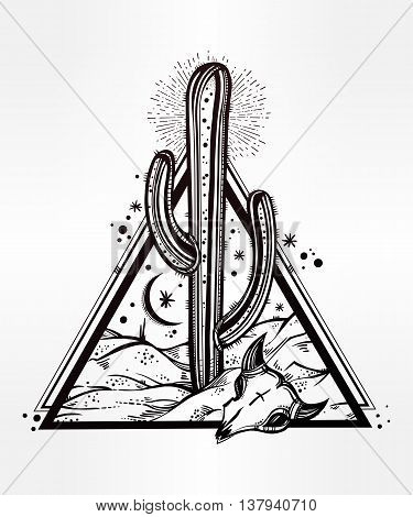 Hand drawn romantic flash tattoo style desert landscape. Skull with cactus and moon. Spiritual cacti art. Vector illustration isolated. Ethnic design, mystic tribal boho symbol for your use.