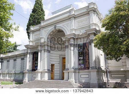 TBILISI, GEORGIA - August 7, 2013: Georgian national art gallery . Georgian national art gallery,located on Rustaveli Avenue in downtown Tbilisi, was built in 1888-1892