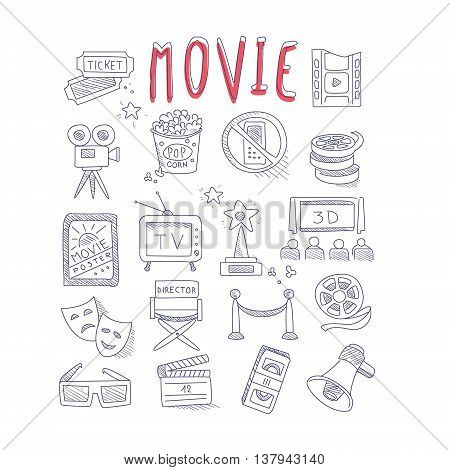 Movie Produstion And Industry Objects Collection With Text Hand Drawn Simple Vector Illustration Is Sketch Style