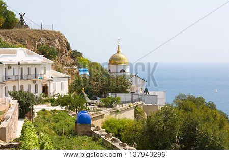 The Balaklava St. George monastery -- Orthodox monastery , located in the Balaklava district of Sevastopol at the Black sea coast near Cape Fiolent.