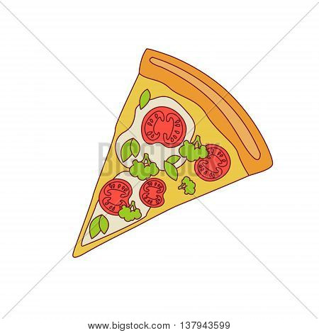 Pizza Slice With Tomato And Broccoli Cartoon Outlined Simplified Flat Vector Illustration Isolated On White Background