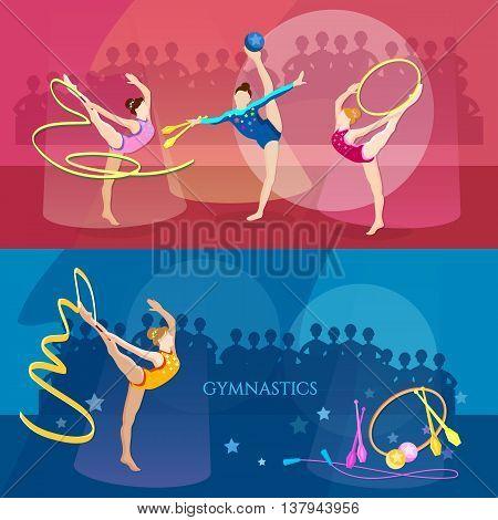 Gymnastics banner rhythmic gymnastics girls sports vector illustration