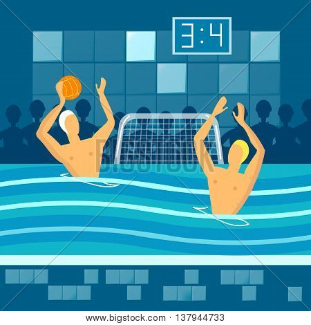 Water polo player in swimming pool sports games vector illustration