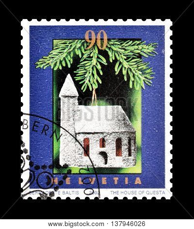 SWITZERLAND - CIRCA 2002 : Cancelled postage stamp printed by Switzerland, that shows Church.