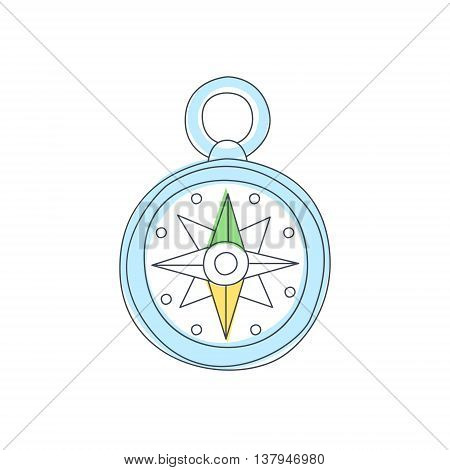 Old-school Compas With Wind Rose Light Color Flat Cute Illustration In Simplified Outlined Vector Design