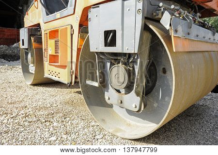 Detailed View Of A Road Roller